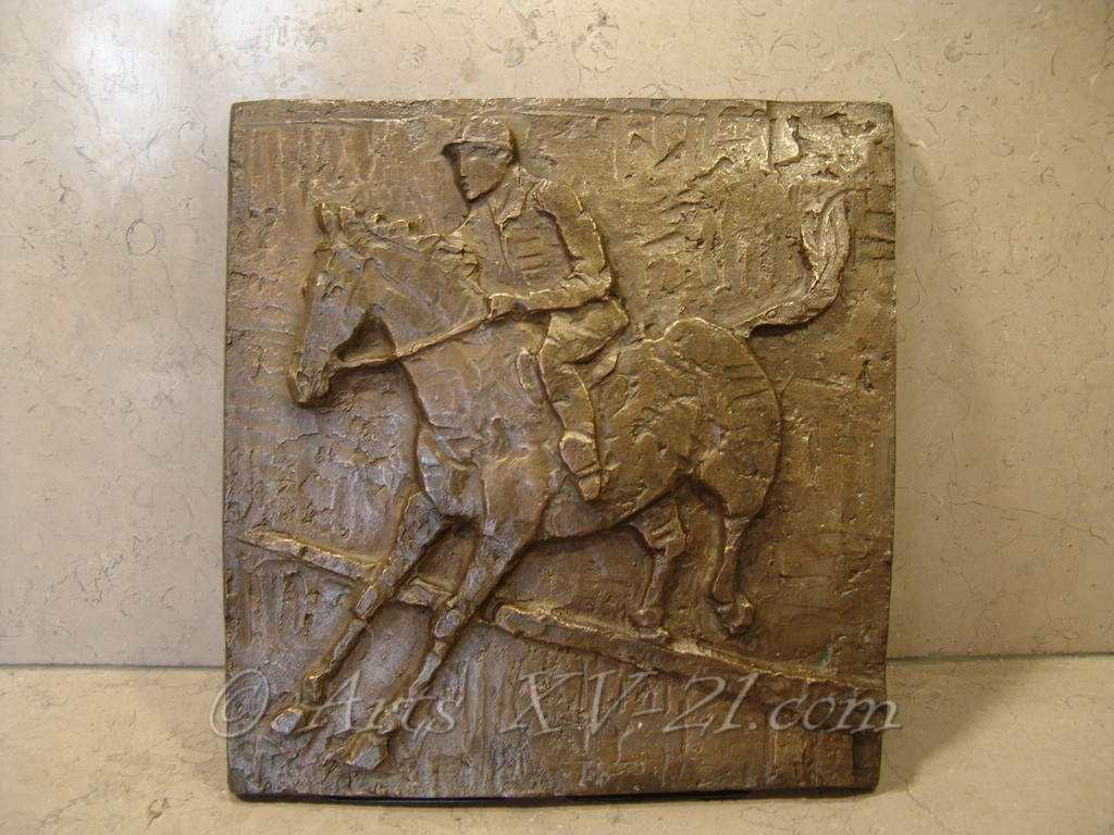 bas relief bronze, saut d'obstacle